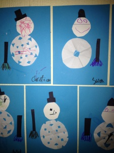 Nursery papercut snowmen