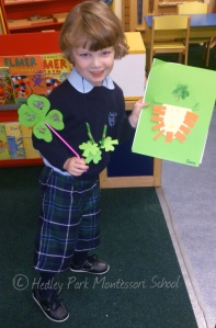 We are craftily getting ready for St. Patricks Day.